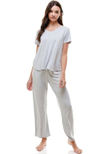 Women's Loungewear Set Solid Pajama Short Sleeve And Pants Set