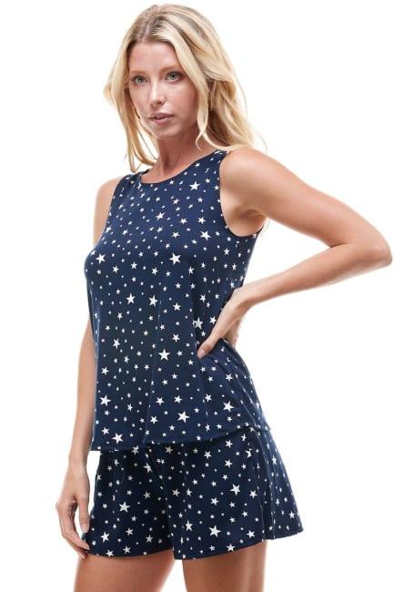 Star Printed Sleeveless Top and Short Loungewear Set
