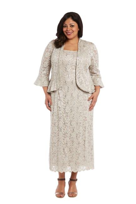 Lace Column Dress with Matching Lace Jacket - Plus