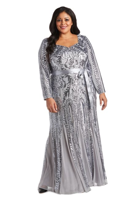 Sequined Evening Gown with Angular Neckline - Plus