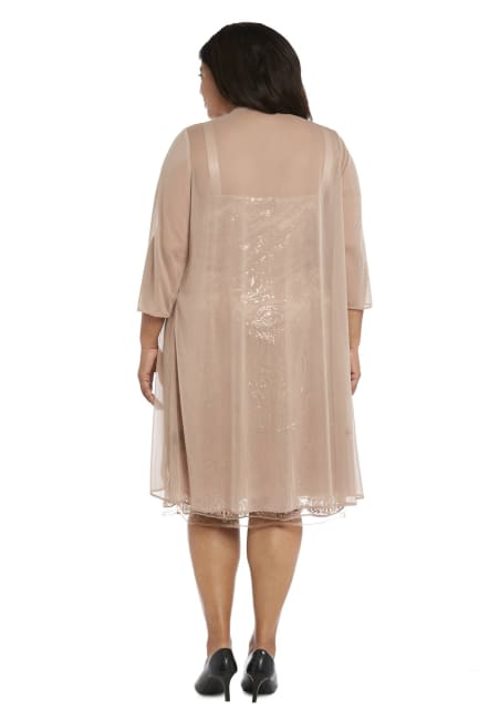 Sequined Sheath Dress With Draped Chiffon Top - Plus