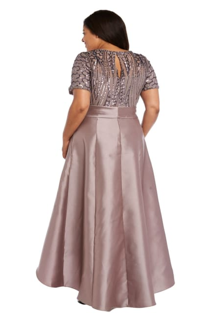 High-Low Cocktail Skirt-Top Dress With Satin Skirt, Bow And Sequin Top - Plus