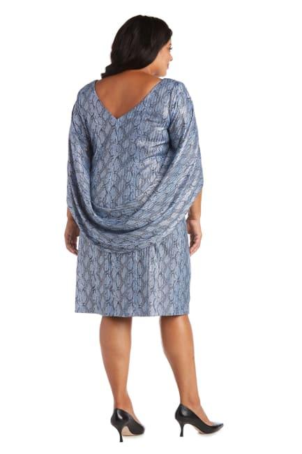 Print Foil Knit Drape Back Dress - Plus