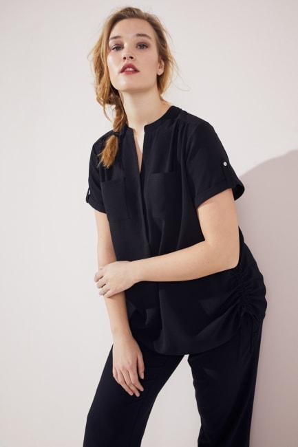 Short Sleeve Side Tie Popover Blouse  - Plus