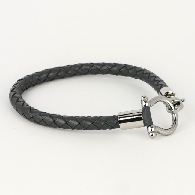 Jean Claude Dark Grey Leather Bracelet with Small Stainless Steel