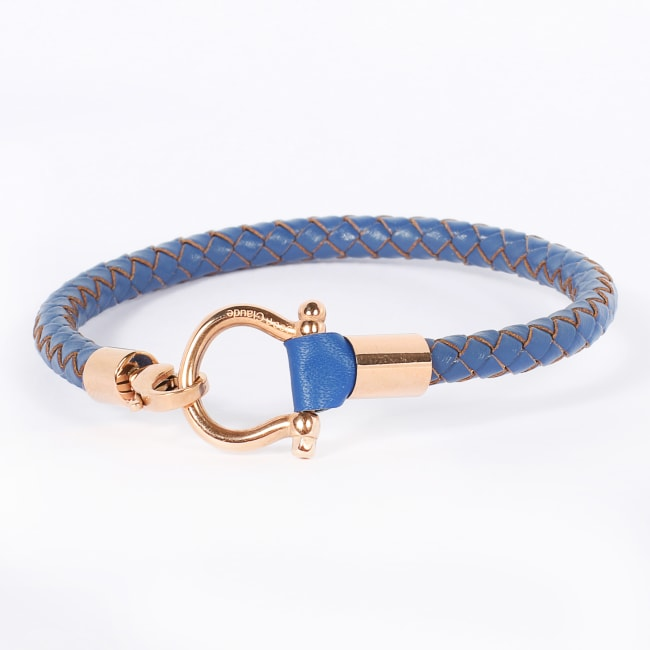 Jean Claude Navy Leather Bracelet with Small Gold Stainless Steel