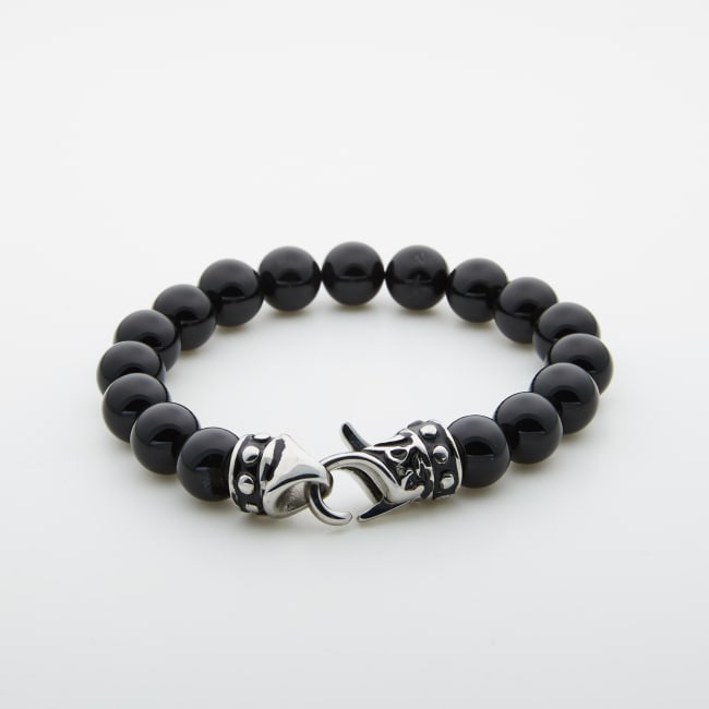 Jean Claude Shiny Onyx Beads Bracelet with Stainless Steel Ornamental Closure