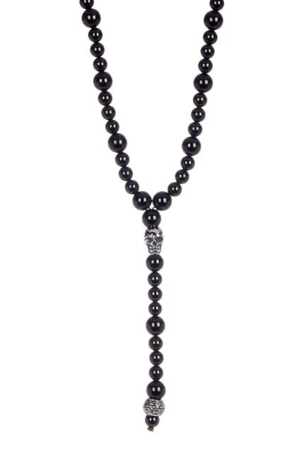 Dell Arte by Jean Claude 6mm and 8mm Black Agate Necklace with Beautiful Encrusted Stainless Steel Skull and Antic Inserts. Size 80 cm [17 inches]