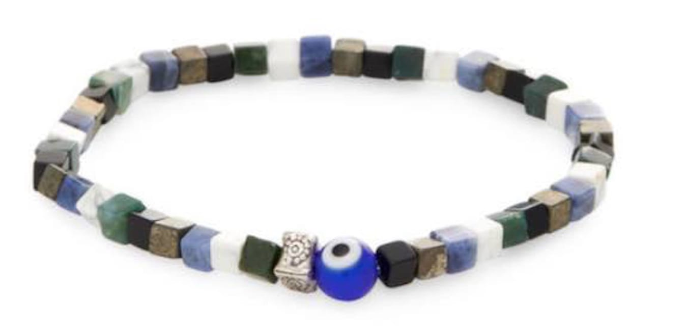 Dell Arte by Jean Claude 6 mm Square Sodalite, White Howlite, Onyx, Green Aventurine, and Pyrite Agate Beads Bracelet with 925 Sterling Silver Inserts and Protection Evil Eye Inserts