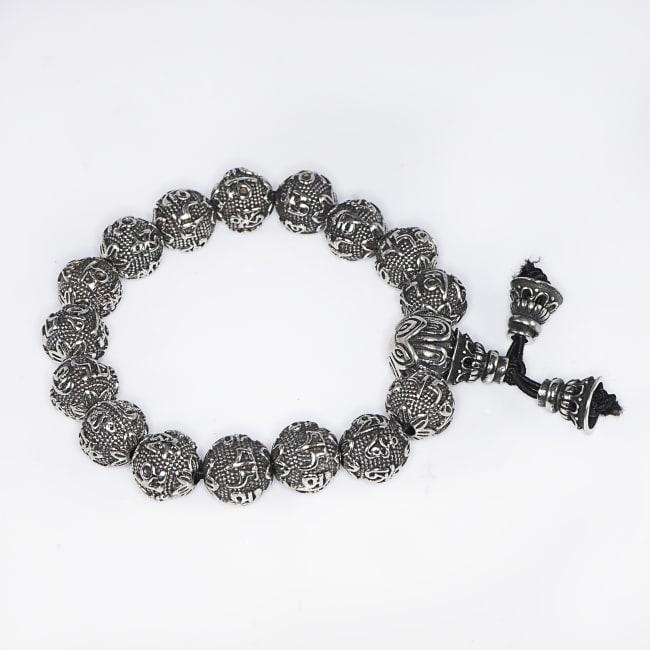 Dell Arte by Jean Claude Sanskrit Six Words Engraved Mantra Beads Retro Antic Tibetan Bracelets For Men