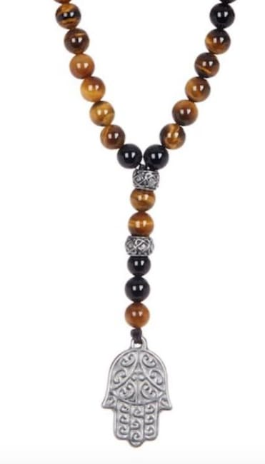 Dell Arte by Jean Claude 8 mm Black Agate, Tiger Eye Stone, Silver Stainless Steel Inserts and Spiritual Stainless Steel Hamsa Hand Necklace