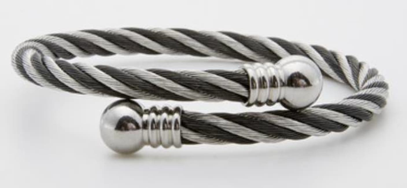 Dell Arte by Jean Claude Two Tone Encrusted Steel Twisted Cable Adjustable Cuff Bangle Bracelet