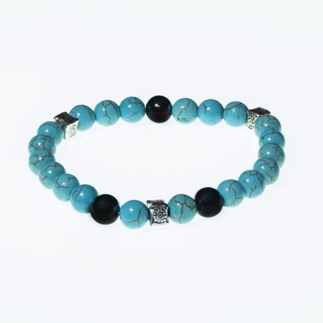 Dell Arte by Jean Claude 8 mm Blue Magnesite and Man Made Turquoise Adjustable Bracelet with Hematite Beads and Sterling Silver Inserts