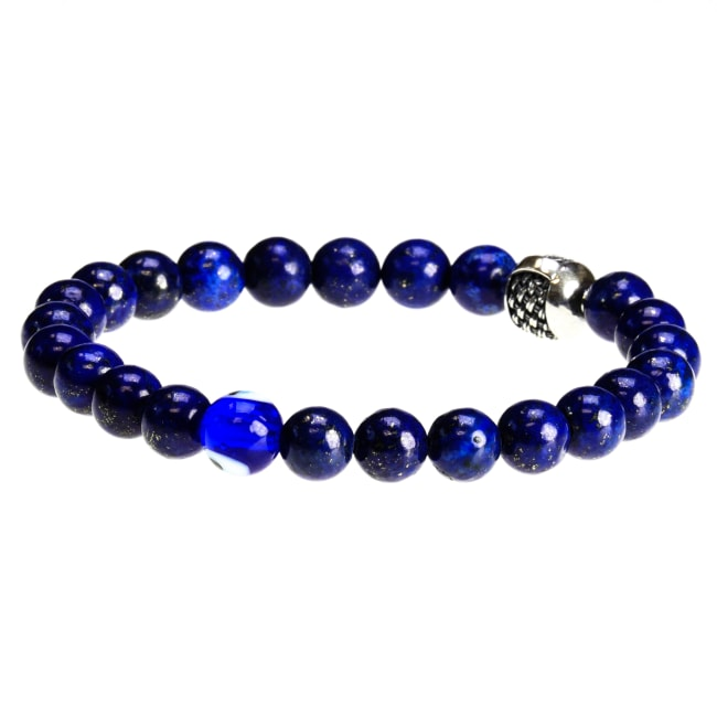 Dell Arte by Jean Claude 8 mm Rare Lapis Beads Bracelet with 925 Sterling Silver