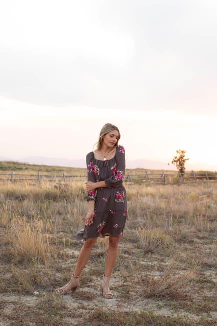 Virginia Embroidered Hi-Low Peasant Dress - Misses