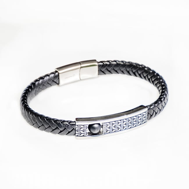 Dell Arte by Jean Claude Geniune Black Leather Fashioned Bracelet With Stainless Steel Placket and Inside Black Onyx Movable (Figit) Bead Insert with Stainless Steel Closure