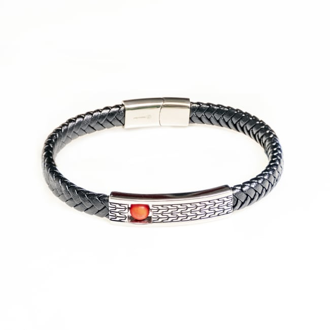 Dell Arte by Jean Claude Genuine Black Leather Fashioned Bracelet With Stainless Steel Placket, and Inside Red Coral Movable (Figit) Bead Insert with Stainless Steel Closure