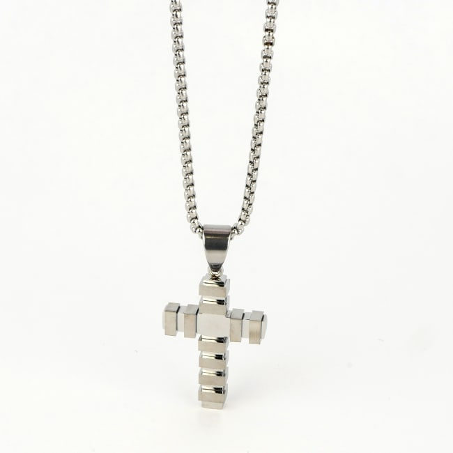 Dell Arte by Jean Claude Stainless Steel Modern Incrusted Stainless Steel Cross Pendant With 24-inch Stainless Steel Chain