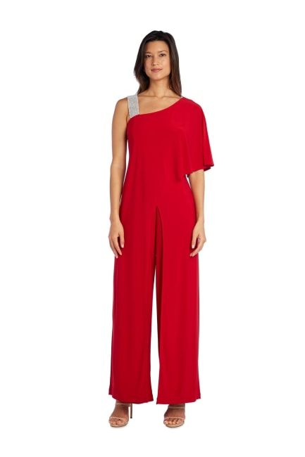 Asymmetric Jumpsuit With Overlay And Diamante Shoulder Strap