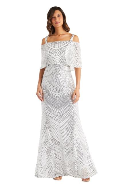 Long All Over Beaded Swirl Pattern Off The Shoulder Caplet Mermaid Dress