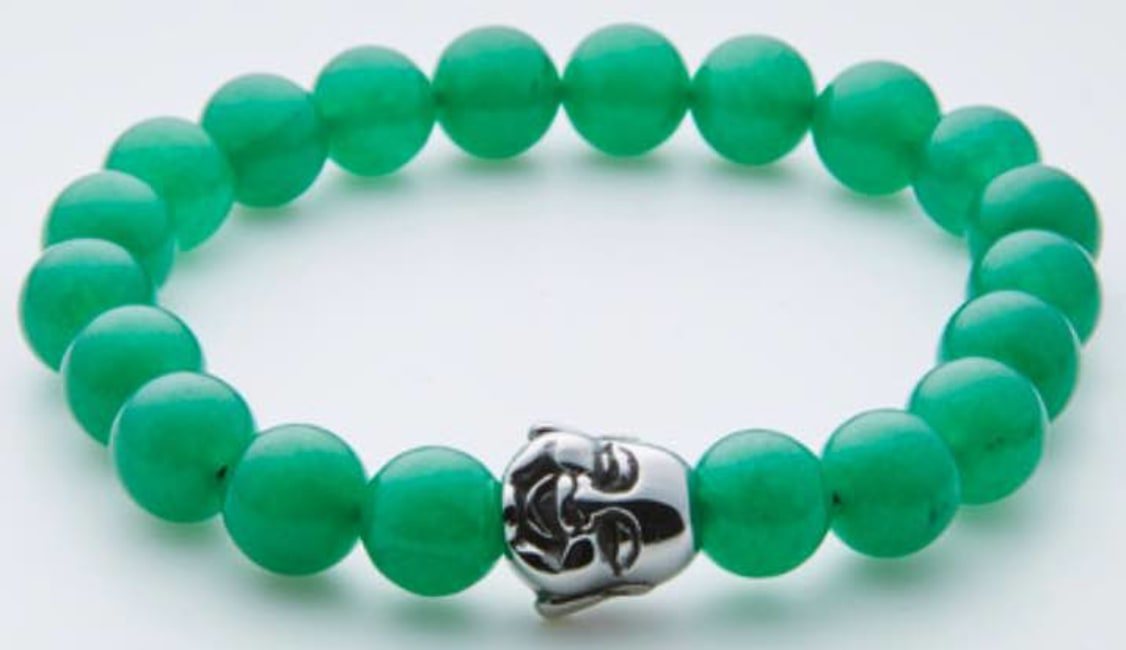Dell Arte by Jean Claude 10 Mm Green Aventurine And Jade Stretchable Beads Bracelet With Stainless Steel