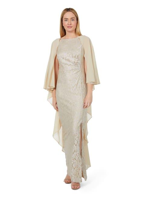 Marina Chiffon Cape Glitter Lace Gown
