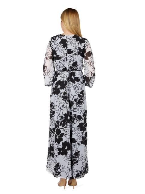 Marina Black/White Floral Chiffon Gown