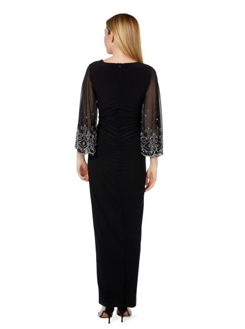Marina Black Beaded Sleeve Jersey Gown