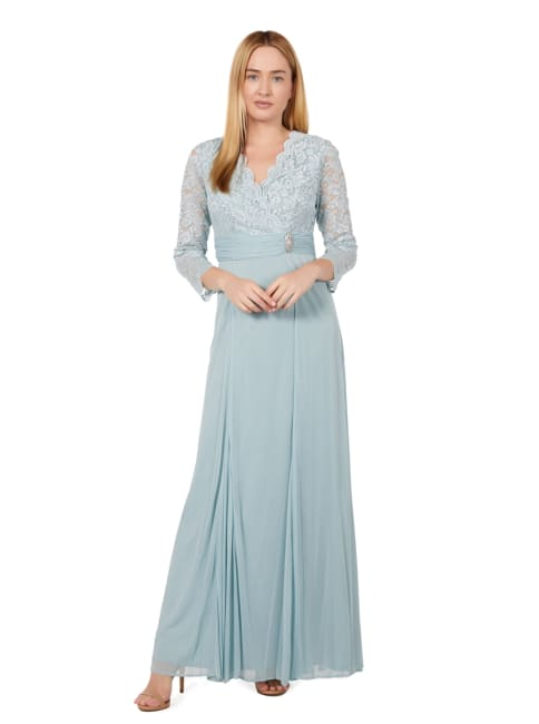Marina Long Sleeve V Neck Lace and Jersey Chiffon Gown