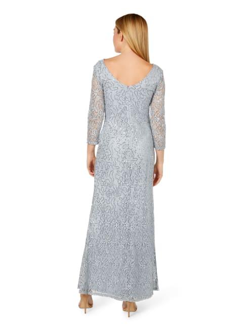 Marina Illusion Long Sleeve V-Neck Long Gown