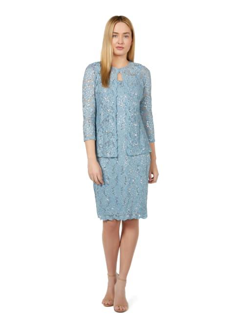 Marina Scalloped Glitter Lace 2 Piece Jacket Dress
