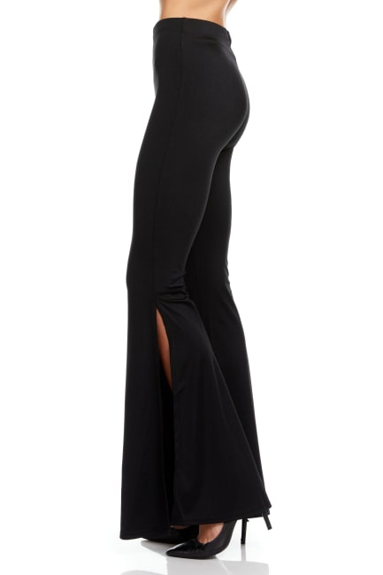 Wide Leg Pull On Pant Solid Black