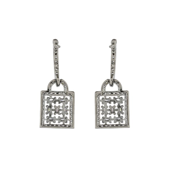 Diamond Cubic Zirconia Drop Earrings