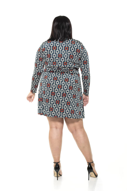 Diana Geo Print Wrap Dress - Plus