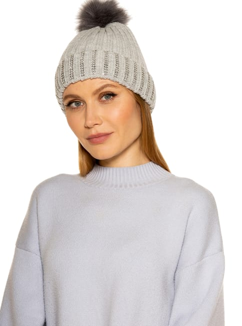 Darla Knitted Beanie with Rhinestones and Pom