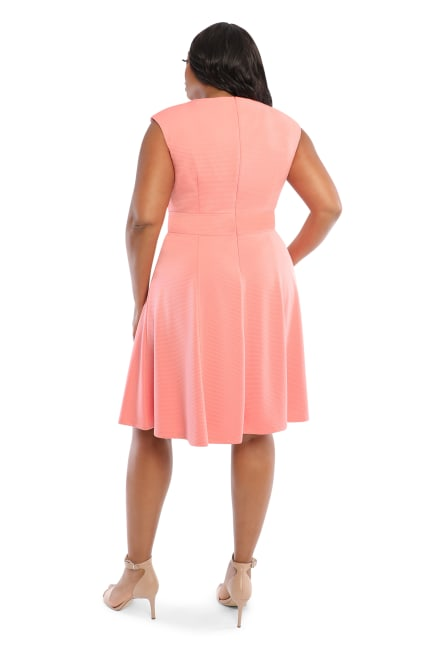 Betty Cap Sleeve Tie Waist Fit and Flare Dress - Plus