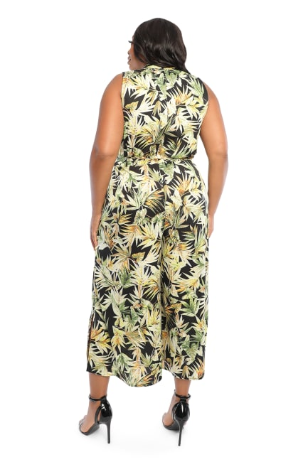 Julia Tropical Print Sleeveless Collar Jumpsuit with Tie Waist - Plus