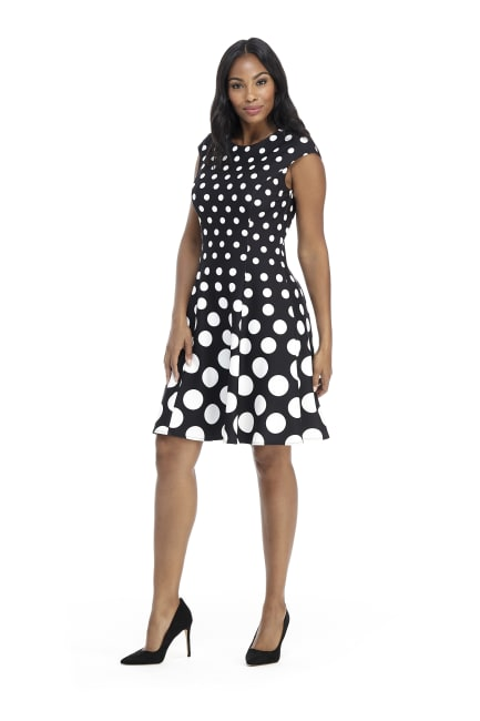 Ellie Cap Sleeve Dot Fit and Flare Dress - Petite