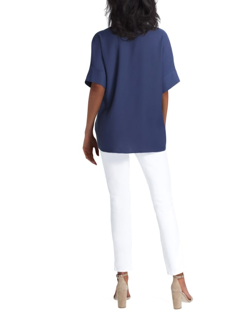 Elbow Sleeve Button Front Blouse H Halston