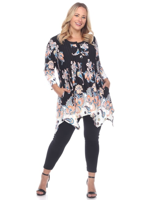 Plus Size Paisley Scoop Neck Tunic Top with Pockets