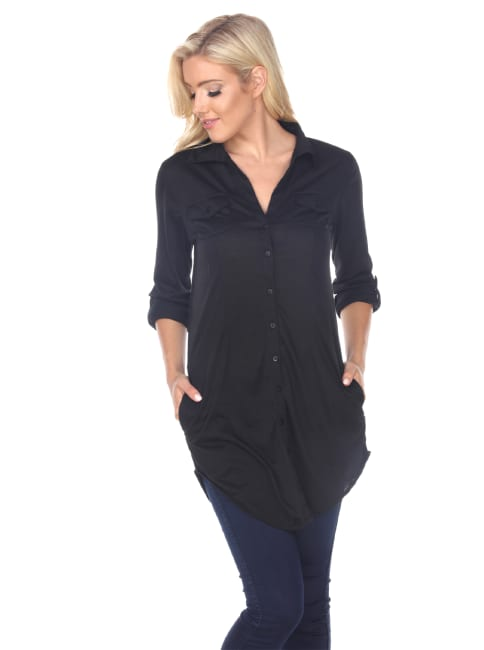 Stretchy Button-Down Tunic