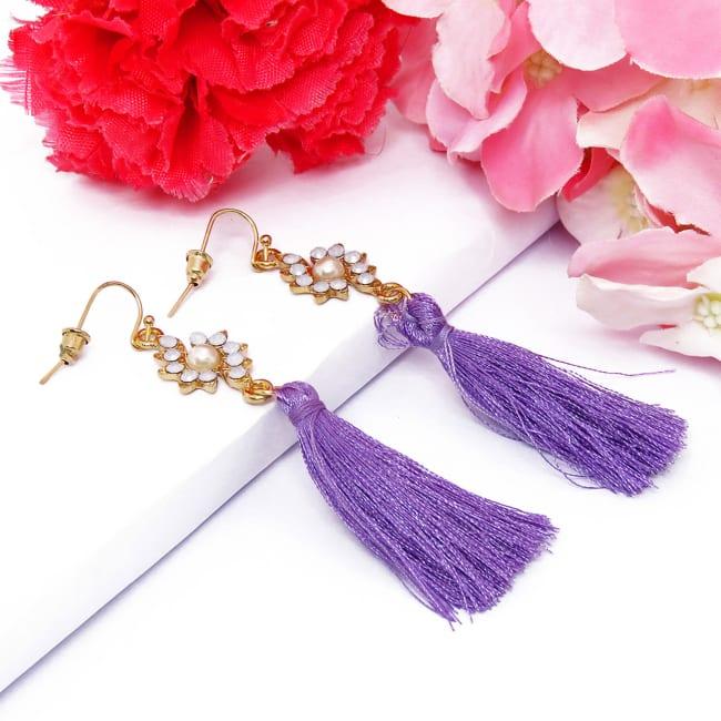 Women Fashion CZ Diamond Shape Tasseled Earring