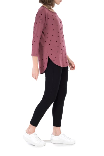 French Terry Dot Scoop Neck Top