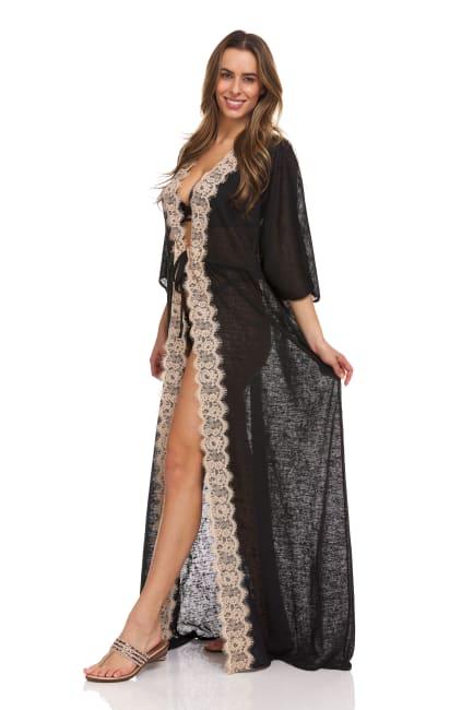 Lace Trim Maxi Robe