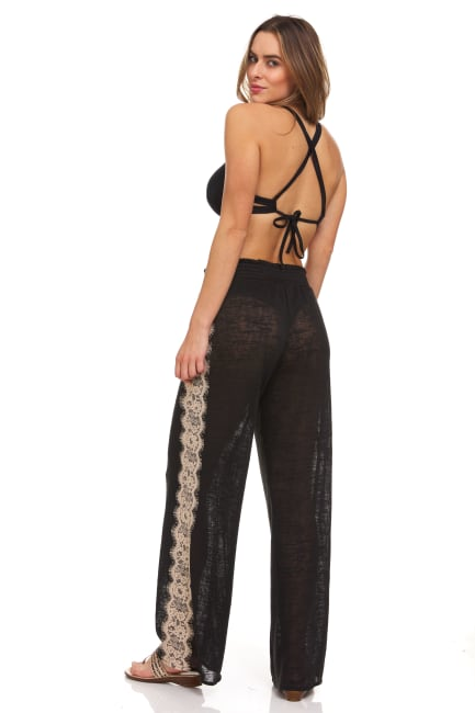 Lace Trim Pull On Pant