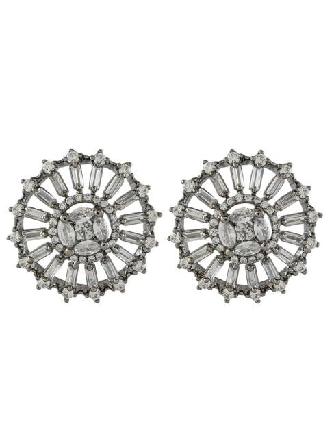 Cubic Zirconia Diamond Black Gold Plated Earrings