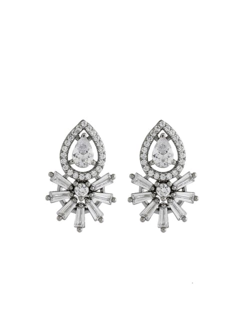 Black Gold Plated Cubic Zirconia Diamond Earrings