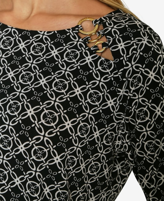 Adrienne Vittadini 3/4 Sleeve Asymmetrical Trim Blouse