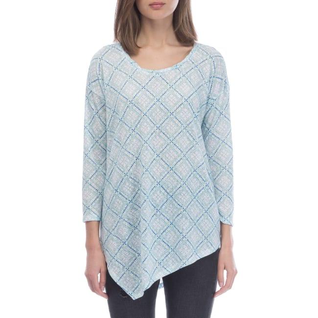Geometric Asymmetrical Print Knit Top