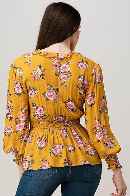 Rayon Challis Floral Ruffle V Neck Blouse Top